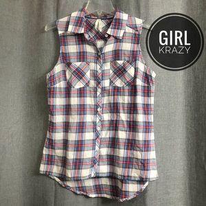 Girl Krazy Plaid Sleeveless Button-Down Shirt [M]